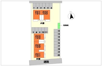 リヴィエール B[2DK/49.17m2]の配置図