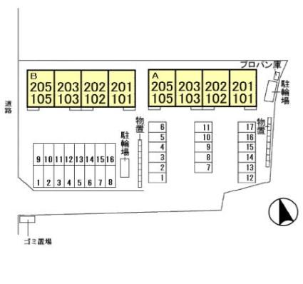 メゾン・ド・アコール[2LDK/65.84m2]の配置図
