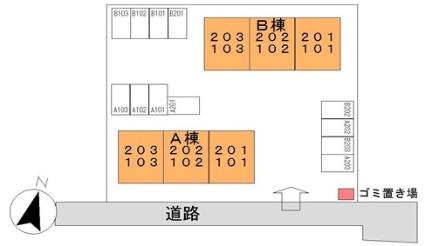 エステートヤマダ B[2DK/40.04m2]の配置図