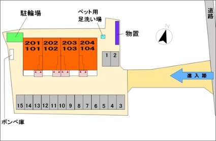 ガーデンヒル杏花[1LDK/45.09m2]の配置図