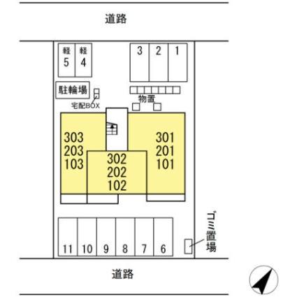 長野県長野市東鶴賀町[1LDK/42.93m2]の配置図