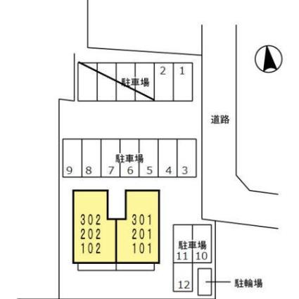 コート楓Ⅱ[2LDK/58.37m2]の配置図