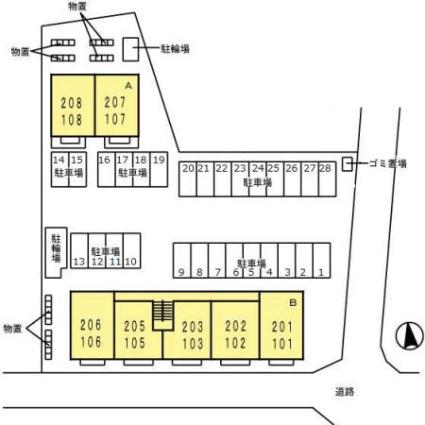 岐阜県岐阜市河渡3丁目[2LDK/55.25m2]の配置図