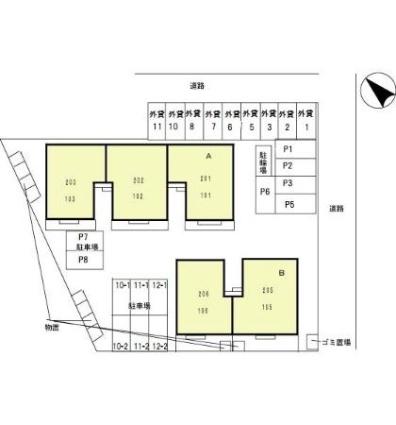 岐阜県岐阜市六条福寿町[2LDK/54.26m2]の配置図