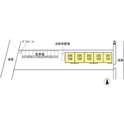 岐阜県岐阜市今嶺2丁目[1LDK/46.3m2]の配置図