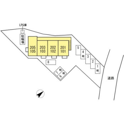 岐阜県岐阜市下鵜飼[1K/33.67m2]の配置図