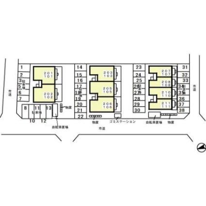 岐阜県岐阜市宇佐東町[1LDK/41.22m2]の配置図