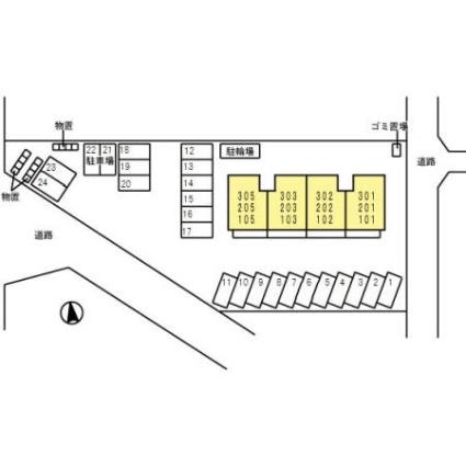 岐阜県岐阜市今嶺3丁目[2LDK/60.88m2]の配置図