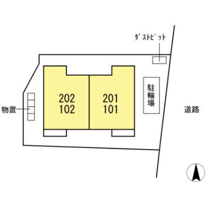 岐阜県岐阜市西荘3丁目[1LDK/32m2]の配置図