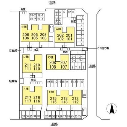 岐阜県岐阜市中1丁目[2LDK/59.54m2]の配置図