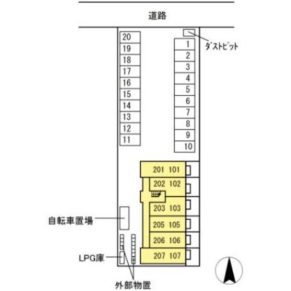 岐阜県岐阜市折立[1K/30.03m2]の配置図