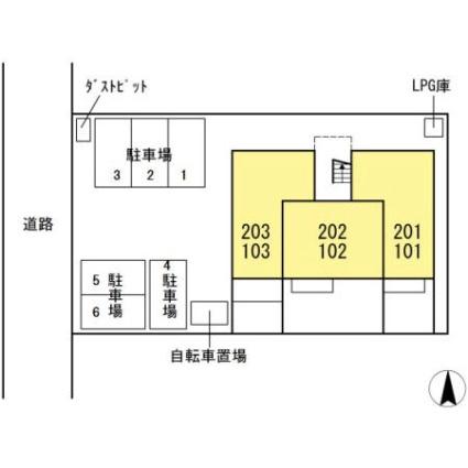 岐阜県岐阜市今嶺2丁目[1LDK/40.04m2]の配置図