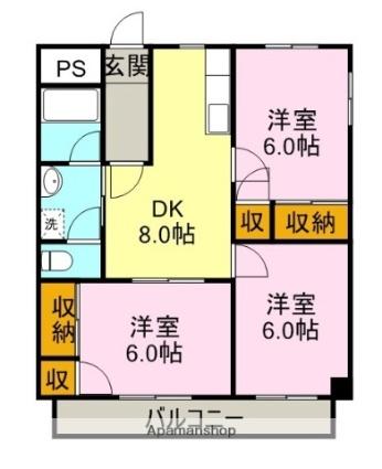 遠藤マンション[3DK/58.32m2]の間取図