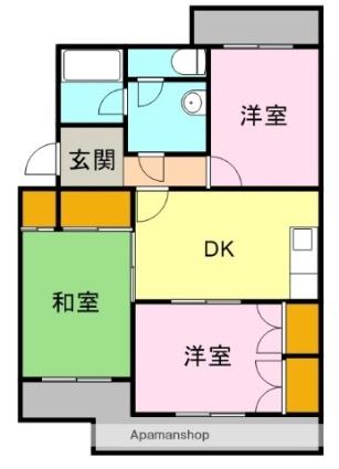 アビタシオン富士[3DK/55.45m2]の間取図