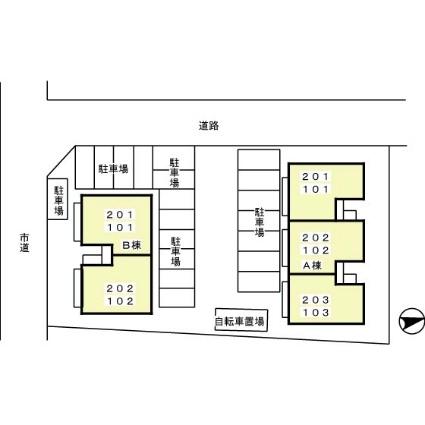 静岡県富士宮市矢立町[2LDK/53.76m2]の配置図