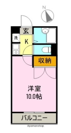 プラナス久沢[1K/26.49m2]の間取図