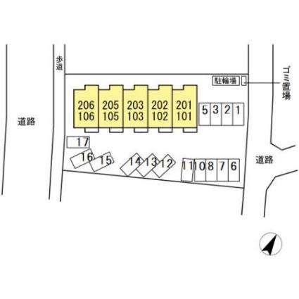 仮)Dーroom岡宮[1LDK/42.57m2]の配置図