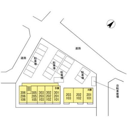 グランボア B[1LDK/30.38m2]の配置図