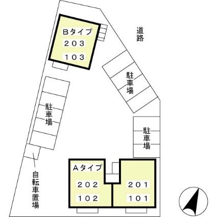 サンセール 細江 A[2LDK/55.44m2]の配置図