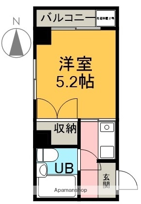 静岡県富士市水戸島元町[1K/16.5m2]の間取図