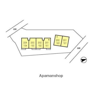 メゾンワタナベB[2DK/36.84m2]の配置図