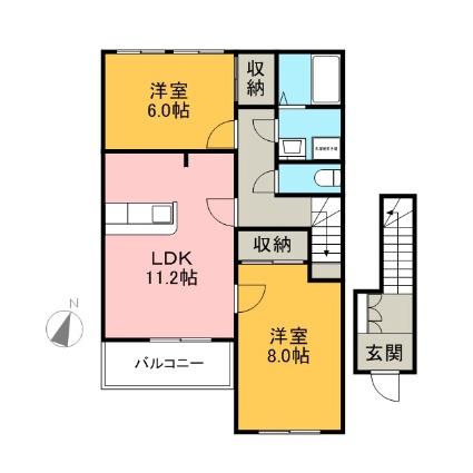 ミヨ・プチハウスⅡ[2LDK/62.5m2]の間取図