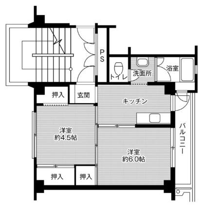 ビレッジハウス天間1号棟[2K/33.54m2]の間取図