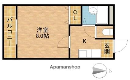 静岡県浜松市北区三方原町[1K/22.68m2]の間取図