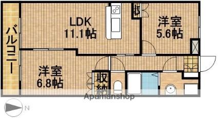 静岡県磐田市池田[2LDK/54.45m2]の間取図