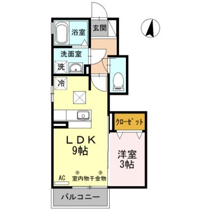 静岡県磐田市新貝[1LDK/31.94m2]の間取図