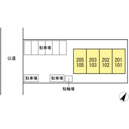 静岡県浜松市北区三方原町[1LDK/44.65m2]の配置図