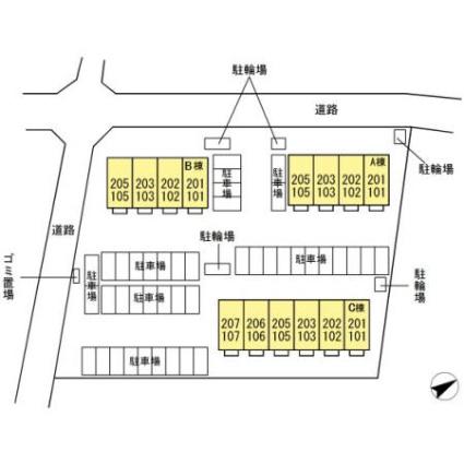静岡県浜松市北区三方原町[1LDK/36.66m2]の配置図