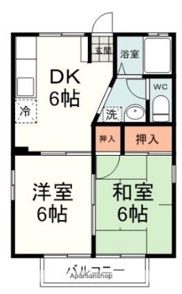 静岡県静岡市清水区西高町[2DK/44.92m2]の間取図