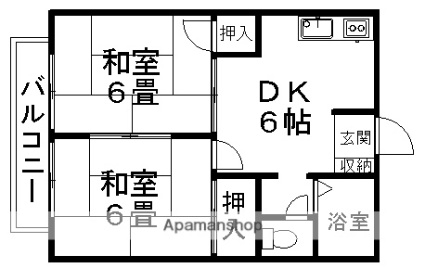 プレジール富士[2DK/41.5m2]の間取図