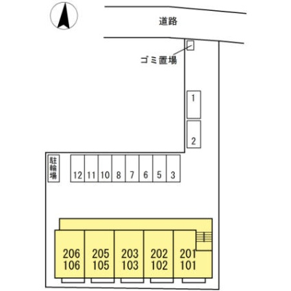 愛知県名古屋市中川区横井2丁目[1LDK/41.29m2]の配置図