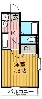 愛知県名古屋市名東区猪子石原2丁目[1K/24.8m2]の間取図