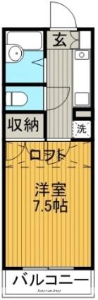 愛知県名古屋市名東区極楽1丁目[1K/20.3m2]の間取図