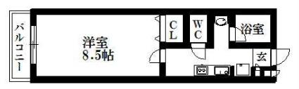 ソフィス南明[1K/26.32m2]の間取図