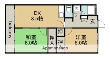 愛知県春日井市柏原町2丁目[2DK/50.49m2]の間取図