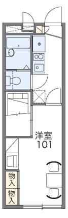 レオパレス西城[1K/22.35m2]の間取図