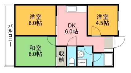 愛知県岩倉市東町掛目[3DK/48.6m2]の間取図