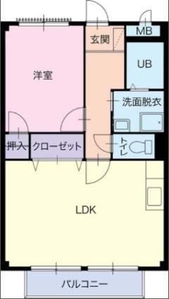 愛知県北名古屋市徳重与八杁[1LDK/44.71m2]の間取図
