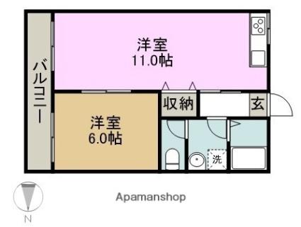 愛知県名古屋市南区観音町1丁目[1LDK/37m2]の間取図
