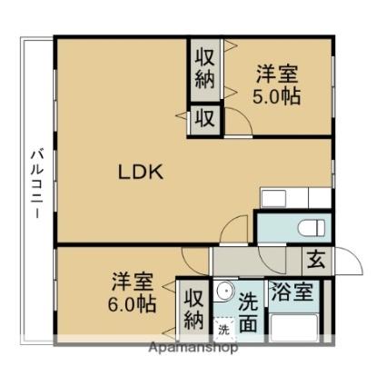 HANAMIZUKI向台[2LDK/66m2]の間取図