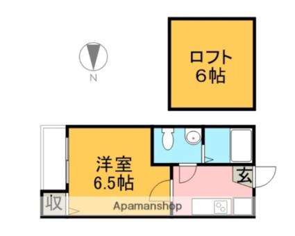 プランドール更屋敷[1K/19.2m2]の間取図