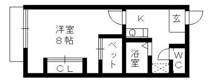 レオパレス猪子石[1K/23.18m2]の間取図