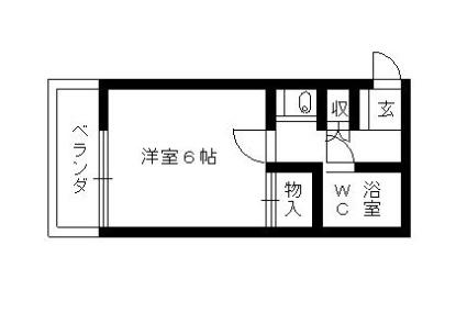 レオパレススウィートハート[1K/19.87m2]の間取図