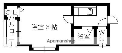 プランドール瓢箪山[1K/18.66m2]の間取図