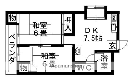 愛知県名古屋市守山区八剣2丁目[2DK/50.22m2]の間取図
