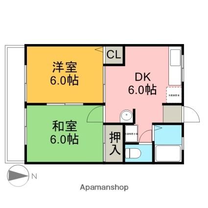 愛知県名古屋市守山区村前町[2DK/42m2]の間取図